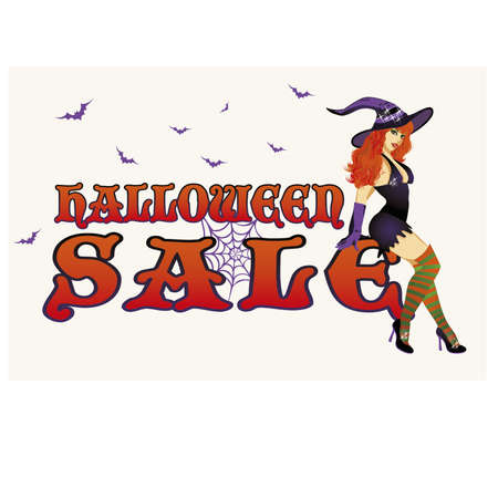 Halloween sale card, shopping witch, vector illustration Illustration