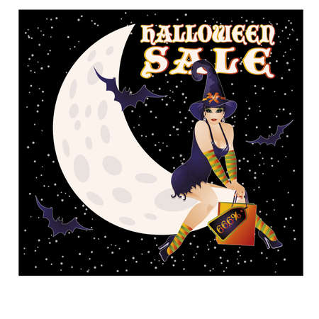 sexy witch: Halloween sale card with sexy witch, vector illustration