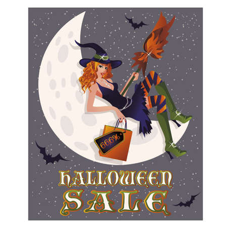 offer: Halloween sale background with sexy witch and moon, vector illustration Illustration