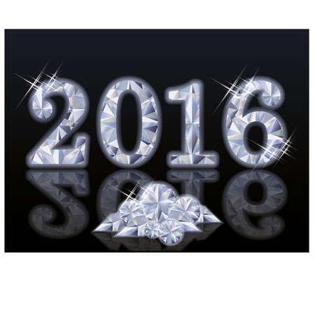 Diamond New Year 2016, vector illustration