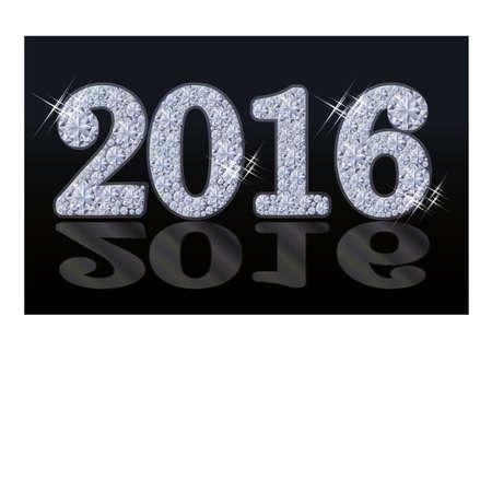 Diamond New 2016 Year background, vector illustration