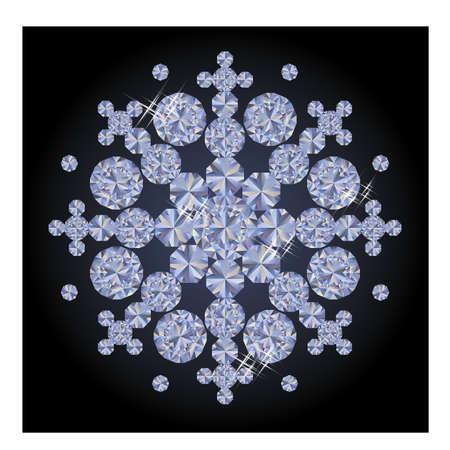 flake: Diamond xmas snow flake, vector Illustration