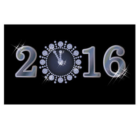 twelfth night: New 2016 year diamond clock, vector