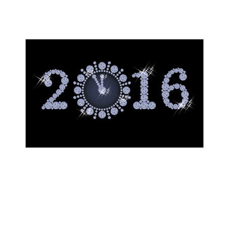 twelfth night: New year 2016 diamond clock banner, vector illustration