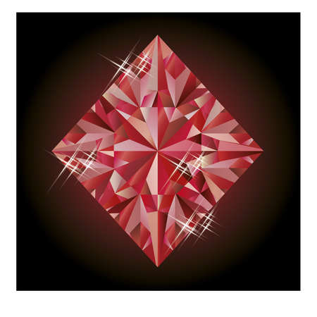 ruby: Casino banner with ruby diamonds poker element Illustration