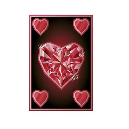 poker card: Ruby hearts poker card