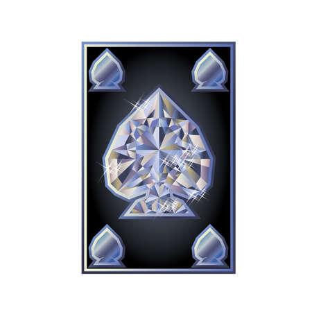 gambler: Diamond spades poker card Illustration