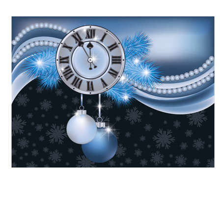scrapping: New Year background with silver clock
