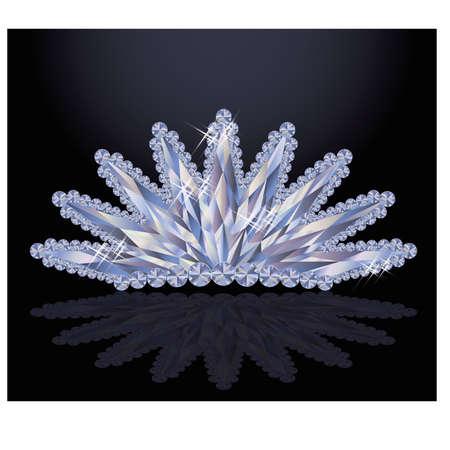 diadem: Elegant princess diadem with diamonds, vector illustration