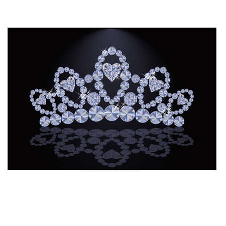 diadem: Diamond princess diadem with hearts, vector illustration