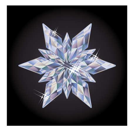 gemstones: Diamond new year snowflake, vector