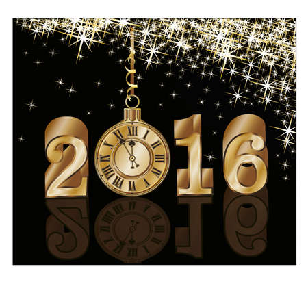 midnight hour: Golden new 2016 year background with xmas clock, vector illustration