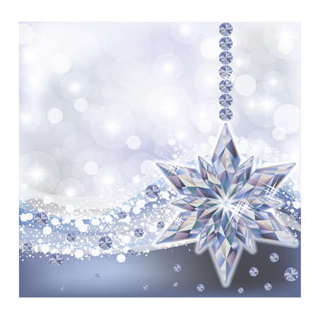 jewels: Frozen wallpaper with diamond snowflake, vector illustration