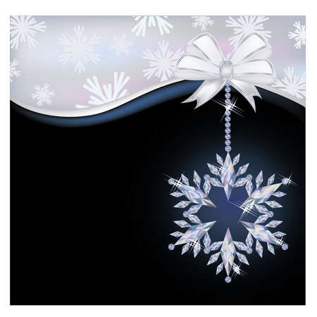 winter wallpaper: Winter wallpaper with diamond snowflake, vector illustration