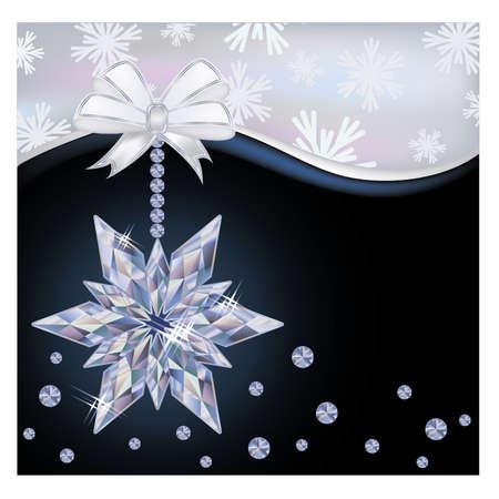 christmas wallpaper: Christmas wallpaper with frozen diamond snowflake, vector illustration Illustration