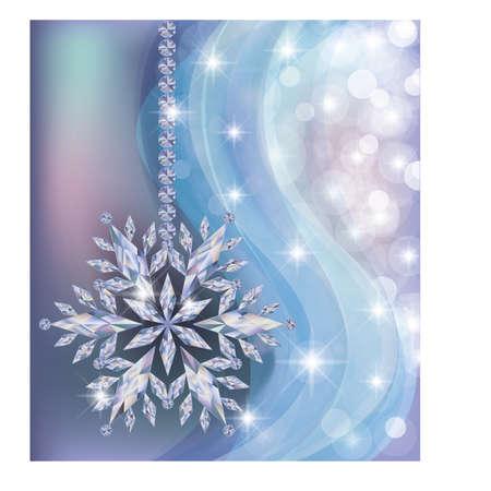 jewellery: Elegant frozen new year wallpaper with diamond snowflake, vector illustration