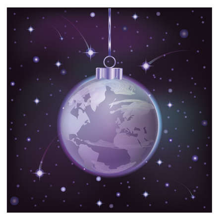 New year background with xmas world ball, vector illustration Illustration