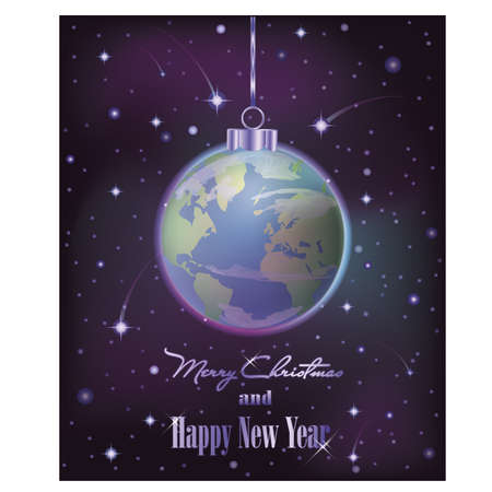 Merry Christmas festive card with world ball, vector illustration Illustration