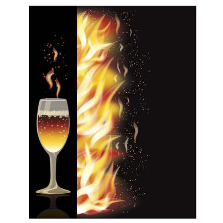 Fire flame banner with wineglass