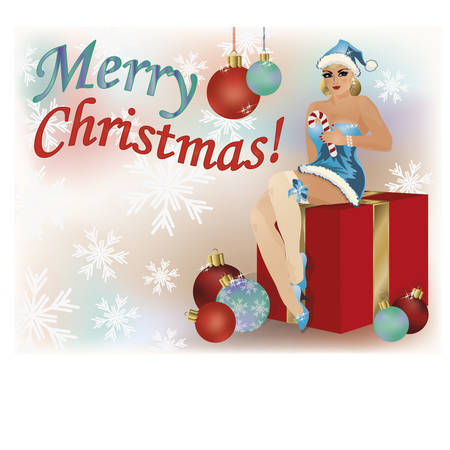 santa girl: Merry Christmas pinup  santa girl poster