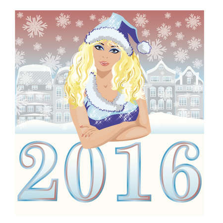 santa girl: Happy new 2016 year background and beautiful santa girl, vector illustration