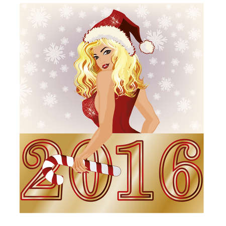 sexy santa: Happy new 2016 year, sexy santa claus girl, vector illustration Illustration