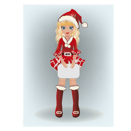 santa girl: Little cute santa girl, vector illustration