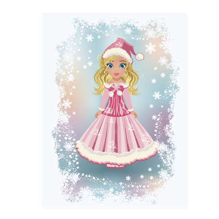 blonde teenage girl: Elegant little santa claus girl, vector illustration