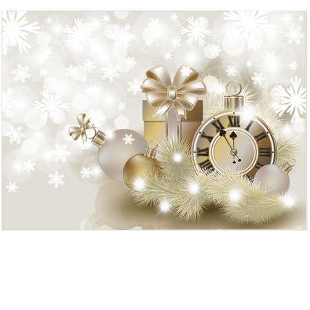 midnight hour: Merry Christmas  New year golden card, vector