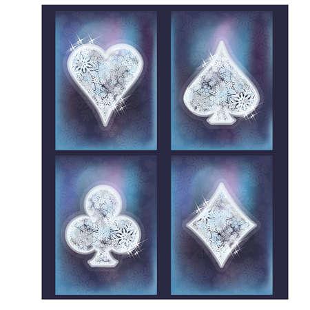 luck: Christmas casino, winter poker cards, vector illustration