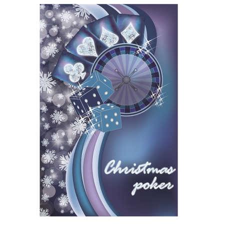 entertainment risk: Merry Christmas casino  snow card, vector illustration
