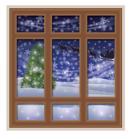 finestra: finestra smerigliata e Babbo Natale, inverno sfondo, illustrazione vettoriale Vettoriali