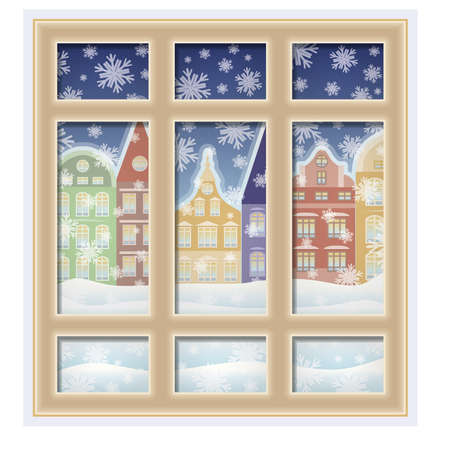 frosted: Frosted winter window, vector illustration Illustration