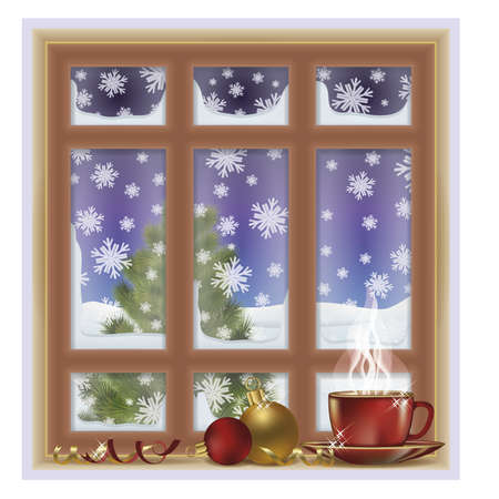 wood frame: Frosted window and tea cup, winter background, vector illustration