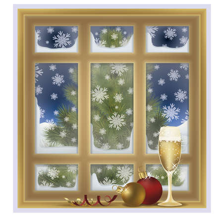 shopping champagne: Frosted window and champagne, winter background, vector illustration Illustration