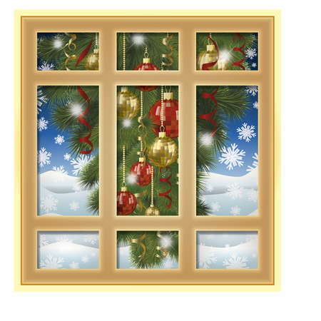wood frame: Frosted window and christmas tree, winter background, vector illustration Illustration