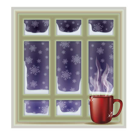 frosted window: Frosted window and coffee cup, winter background, vector illustration