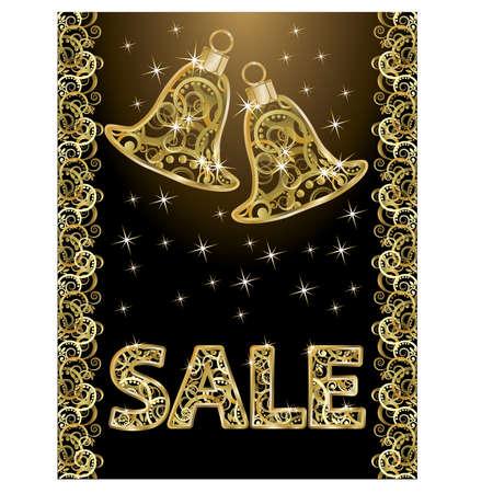 christmas sale: Golden christmas sale banner, vector illustration