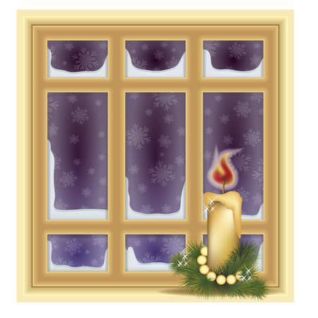 wood frame: Frosted window and candle, winter background, vector illustration