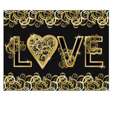 wedding love: Love wedding invitation card, vector illustration Illustration