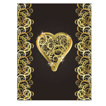 wining: Vintage playing poker card Heart symbol