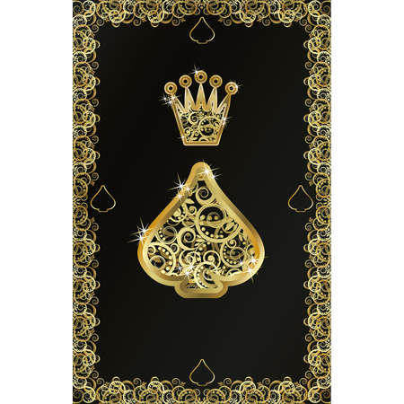 hold'em: Poker playing card Spade symbol, vector illustration