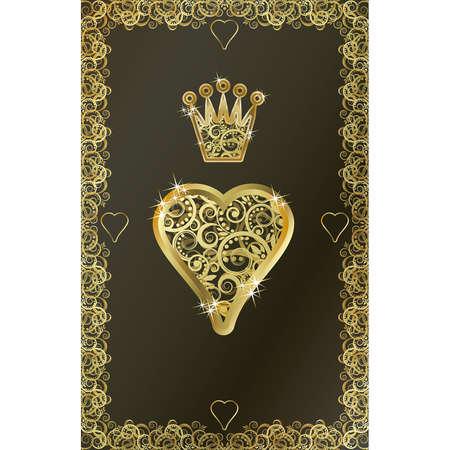 gambler: Poker playing card Heart symbol, vector illustration