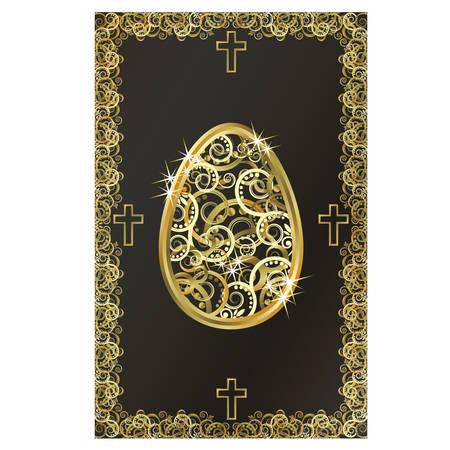 Happy Easter golden egg card, vector illustration