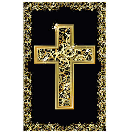 Happy Easter golden cross, vector illustration
