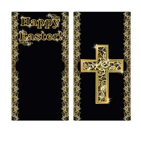 cristianismo: Feliz banner de Pascua con la ilustración de cruz, vector