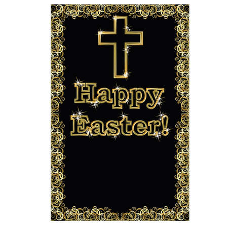 easter cross: Happy Easter golden cross banner, vector illustration