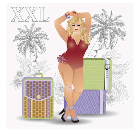 plus size: Plus size traveler sexy girl, vector illustration