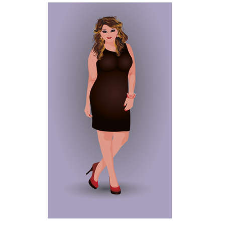 plus size: Plus size attractive girl in dress, vector illustration Illustration