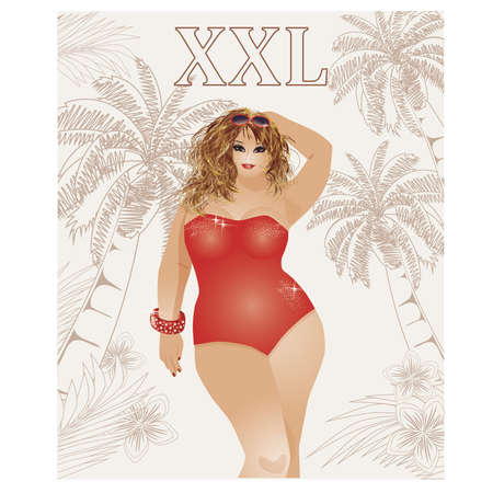 big size: Plus size sexy travel girl, vector illustration